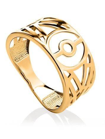 Нарядное широкое кольцо из позолоченного серебра, Размер кольца: 17, фото