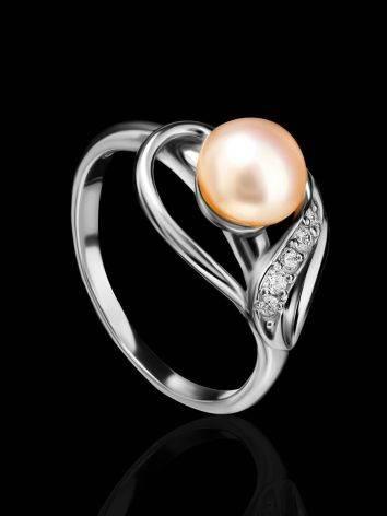 Серебряное кольцо с жемчугом и фианитами, Размер кольца: 17, фото , изображение 2