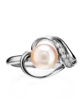 Серебряное кольцо с жемчугом и фианитами, Размер кольца: 17, фото , изображение 3