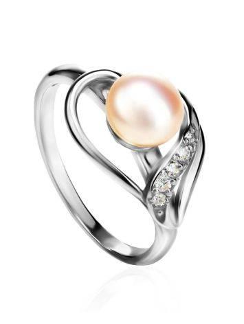 Серебряное кольцо с жемчугом и фианитами, Размер кольца: 17, фото