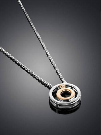 Серебряное колье с золотым элементом и бриллиантом «Дива», Длина: 40, фото , изображение 2