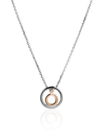 Серебряное колье с золотым элементом и бриллиантом «Дива», Длина: 40, фото
