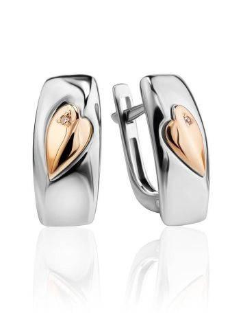Серебряные серьги с золотыми элементами и бриллиантами «Дива», фото