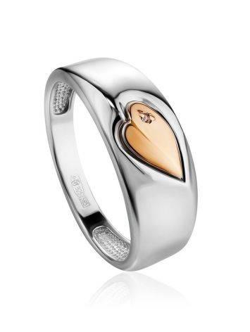 Серебряное кольцо с золотым элементом и бриллиантом «Дива», Размер кольца: 18, фото
