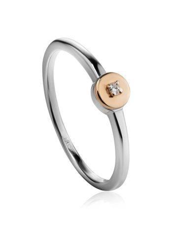 Тонкое серебряное кольцо с бриллиантом в золоте «Дива», Размер кольца: 18, фото