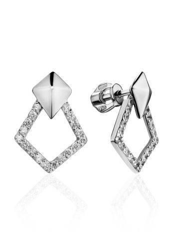 Стильные геометричные серьги-гвоздики из серебра Astro, фото
