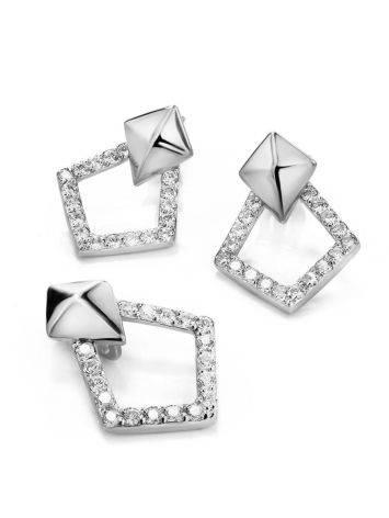 Стильные геометричные серьги-гвоздики из серебра Astro, фото , изображение 3