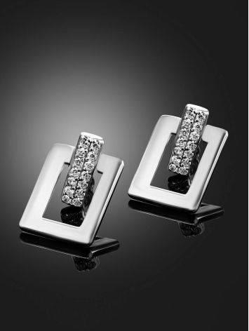 Стильные геометричные серьги-гвоздики из серебра Astro, фото , изображение 2