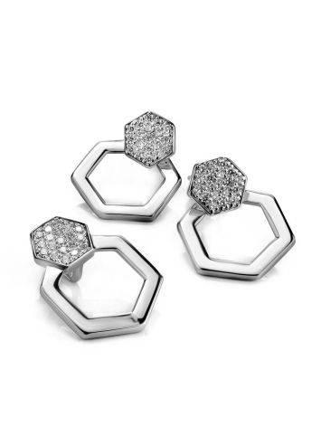 Стильные геометричные серьги из серебра с фианитами Astro, фото , изображение 3