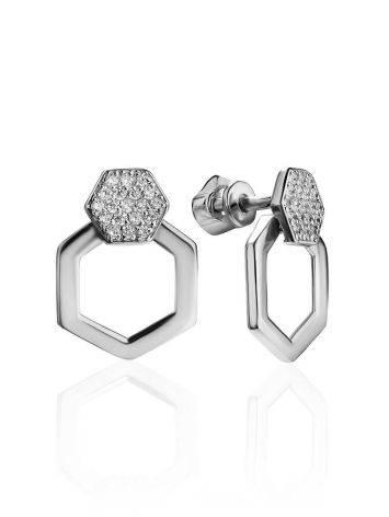 Стильные геометричные серьги из серебра с фианитами Astro, фото