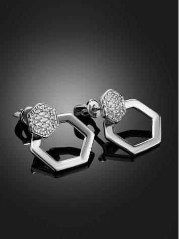 Стильные геометричные серьги из серебра с фианитами Astro, фото , изображение 2