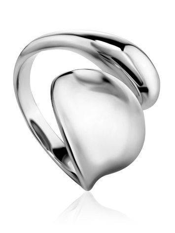 Элегантное глянцевое кольцо из серебра Liquid, Размер кольца: б/р, фото