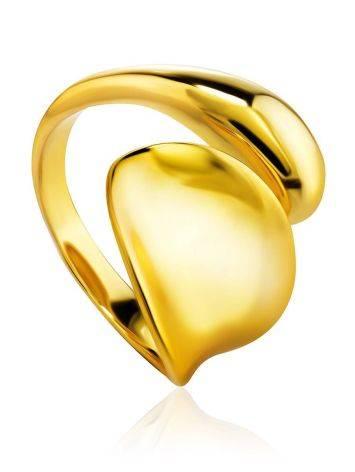 Изящное незамкнутое кольцо из серебра с 18К золочением Liquid, Размер кольца: б/р, фото