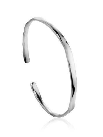Тонкий браслет-кафф из серебра Liquid, фото