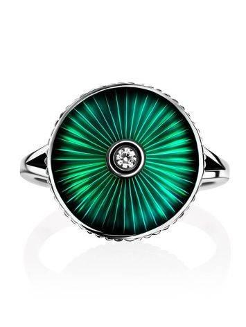 Серебряное кольцо с яркой зеленой эмалью гильош «Наследие», Размер кольца: 17, фото , изображение 3