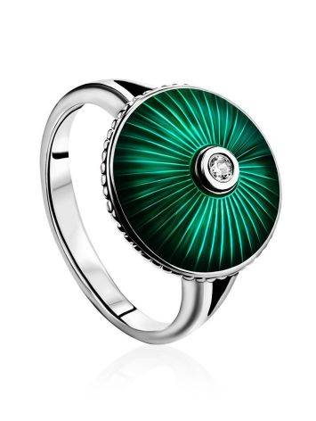 Серебряное кольцо с яркой зеленой эмалью гильош «Наследие», Размер кольца: 17, фото