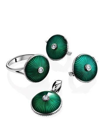 Серебряное кольцо с яркой зеленой эмалью гильош «Наследие», Размер кольца: 17, фото , изображение 4