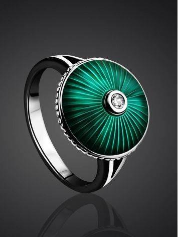 Серебряное кольцо с яркой зеленой эмалью гильош «Наследие», Размер кольца: 17, фото , изображение 2
