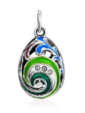 Оригинальное серебряное яйцо-шарм с разноцветной эмалью и кристаллами Romanov, фото