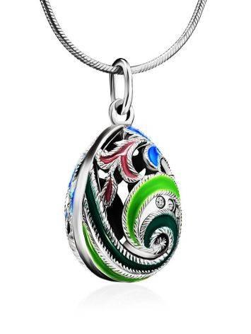 Оригинальное серебряное яйцо-шарм с разноцветной эмалью и кристаллами Romanov, фото , изображение 3