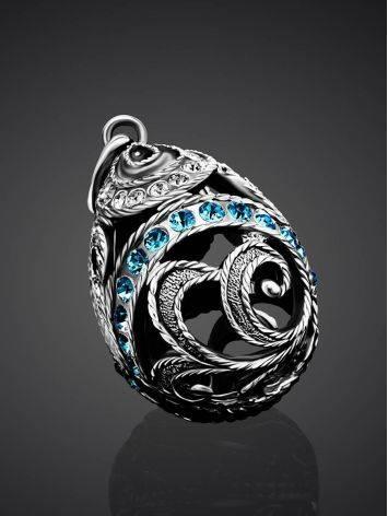 Ажурное серебряное яйцо-шарм с кристаллами Romanov, фото , изображение 2