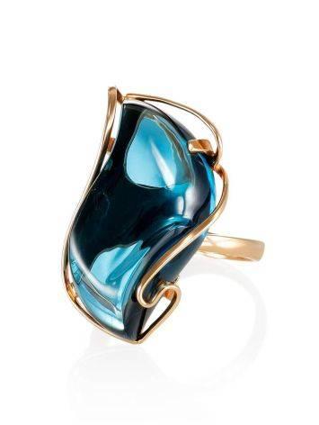 Нарядное кольцо из золота с топазом Лондон «Серенада» б/р, Размер кольца: б/р, фото , изображение 3