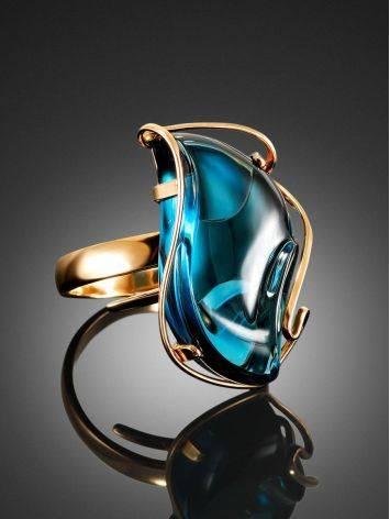 Нарядное кольцо из золота с топазом Лондон «Серенада» б/р, Размер кольца: б/р, фото , изображение 2