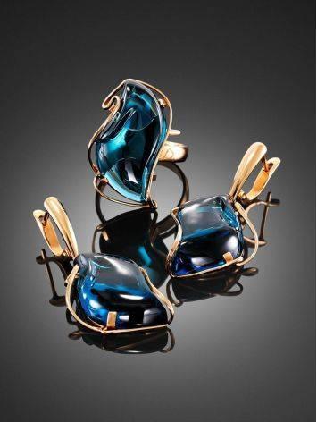 Нарядное кольцо из золота с топазом Лондон «Серенада» б/р, Размер кольца: б/р, фото , изображение 4