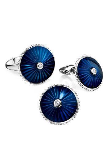 Круглые серьги-гвоздики с синей эмалью и бриллиантами «Наследие», фото , изображение 3