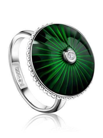 Серебряное кольцо с зеленой эмалью и бриллиантом «Наследие», Размер кольца: 16, фото