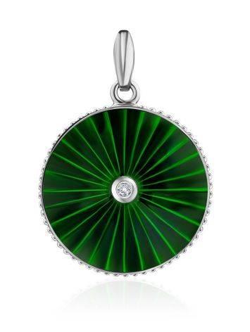 Круглый серебряный кулон с эмалью и бриллиантом «Наследие», фото