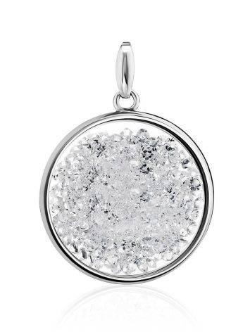 Круглая серебряная подвеска с кристаллами Ice, фото