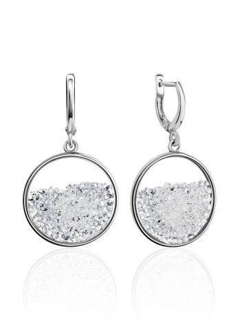 Круглые серебряные серьги-подвески с кристаллами Ice, фото