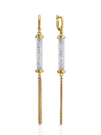 Длинные позолоченные серьги с кристаллами и подвесками-цепочками Ice, фото