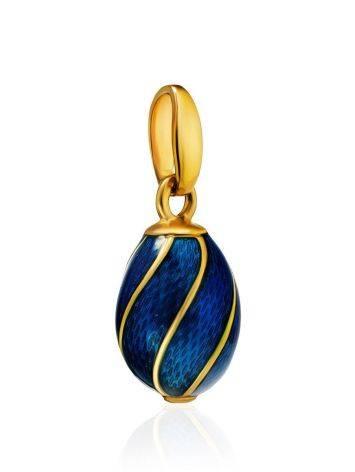 Оригинальное яйцо-шарм с синей эмалью и позолотой Romanov, фото , изображение 3