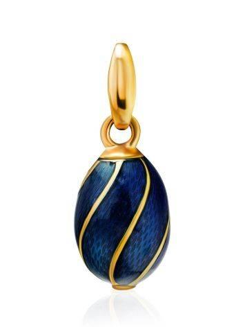 Оригинальное яйцо-шарм с синей эмалью и позолотой Romanov, фото