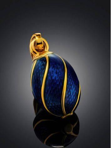Оригинальное яйцо-шарм с синей эмалью и позолотой Romanov, фото , изображение 2