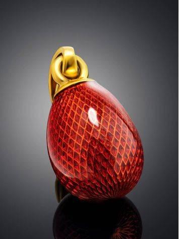 Позолоченное яйцо-подвеска с красной эмалью гильош Romanov, фото , изображение 2