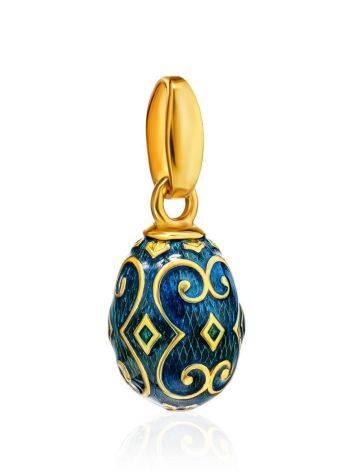 Узорчатое яйцо-шарм с синей эмалью Romanov, фото , изображение 3