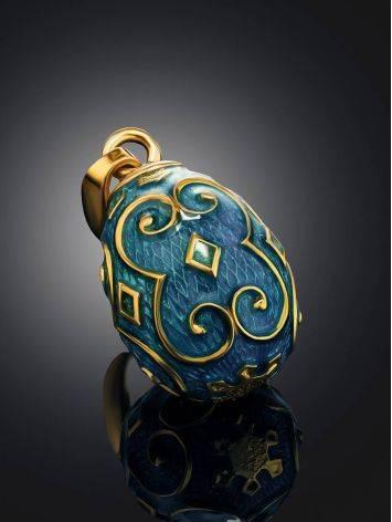 Узорчатое яйцо-шарм с синей эмалью Romanov, фото , изображение 2