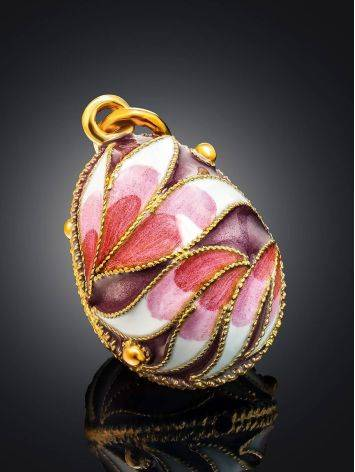 Позолоченное яйцо-шарм с эмалью в цветочном дизайне Romanov, фото , изображение 2