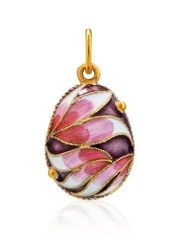 Позолоченное яйцо-шарм с эмалью в цветочном дизайне Romanov, фото