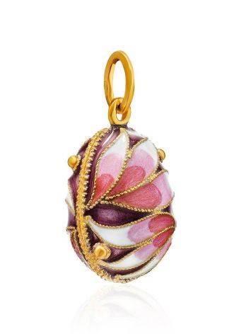 Позолоченное яйцо-шарм с эмалью в цветочном дизайне Romanov, фото , изображение 3