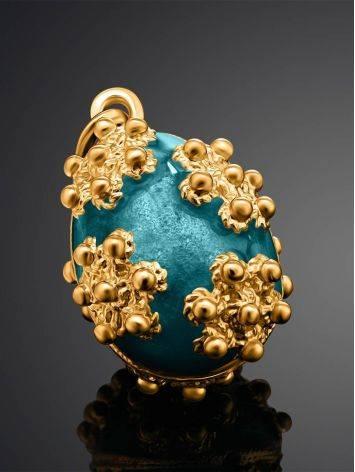 Яркое позолоченное яйцо-шарм с голубой эмалью Romanov, фото , изображение 2