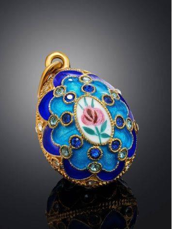Потрясающее яйцо-шарм с синей эмалью ручной работы Romanov, фото , изображение 2