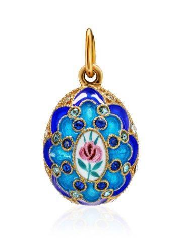 Потрясающее яйцо-шарм с синей эмалью ручной работы Romanov, фото
