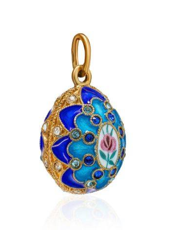 Потрясающее яйцо-шарм с синей эмалью ручной работы Romanov, фото , изображение 3