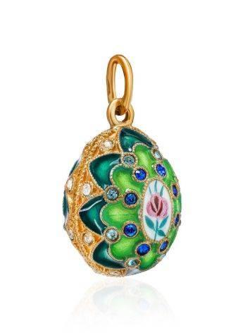 Оригинальное позолоченное яйцо-подвеска с зеленой эмалью и фианитами Romanov, фото , изображение 3