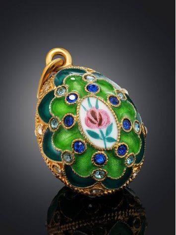 Оригинальное позолоченное яйцо-подвеска с зеленой эмалью и фианитами Romanov, фото , изображение 2