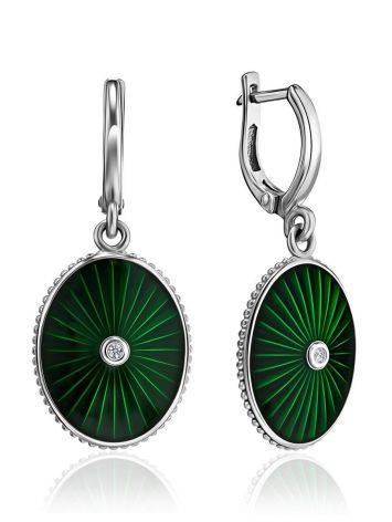 Эффектные серебряные серьги с эмалью гилоьш и бриллиантами «Наследие», фото